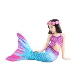 3PCS Kid Girls Shell Ruffles Mermaid Tail Bikini Sets Swimsuit