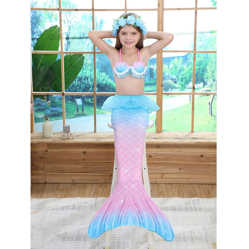 3PCS Kid Girls Shell Top Bra Rainbow Ombre Mermaid Tail Bikini Sets Lace Ruffles Swimsuit