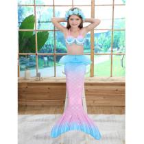 3PCS Kid Girls Shell Top Bra Rainbow Ombre Mermaid Tail Bikini Sets Lace Ruffles Swimsuit