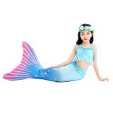 3PCS Kid Girls Blue Stars Mermaid Tail Ruffles Bikini Sets Swimsuit