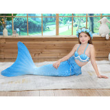 3PCS Kid Girls Shell Top Bra Ombre Mermaid Tail Bikini Sets Lace Ruffles Swimsuit