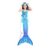 3PCS Kid Girls Mermaid Tail Lace Ruffles Bikini Sets Swimsuit