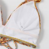 Women Flowers Ruffled Shoulder Strap Bikinis Sets Swimwear