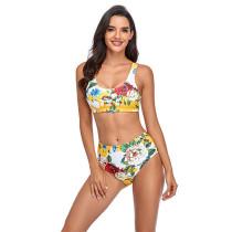 Women Prints Floral High Waist Split Bikinis Sets Swimwear