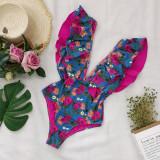 Women Deep V-neck Ruffles Floral Onepiece Swimsuit