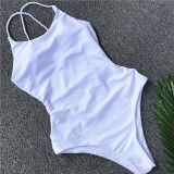 Women Pure Color Cross Over Backless One Piece Swimsuit