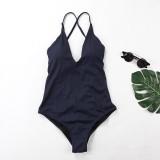 Women V-neck Cross Backless Onepiece Swimsuit