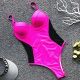 Women Side Waist Black Mesh Onepiece Swimsuit