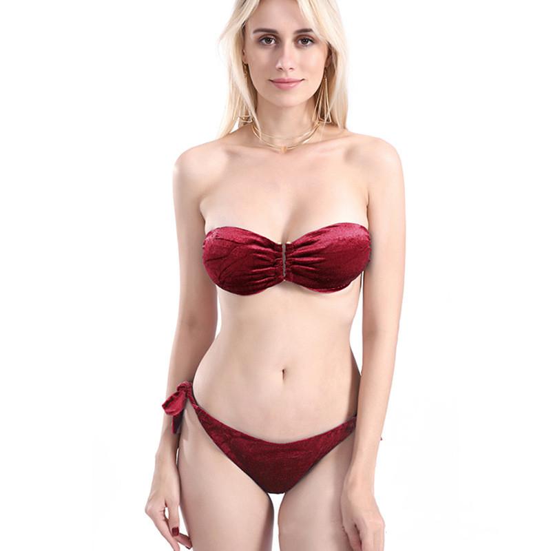 Women Golden Velvet Tube Top Strapless Tie Up Bikinis Sets Swimwear