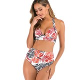 Women Prints Leaves High Waist Halter Bikinis Sets Swimwear