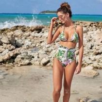 Women Prints Leaves Frill Ruffles High Waist Tie Up Bikinis Sets Swimwear