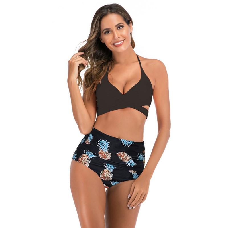 Women Prints Flowers Cross Up High Waist Bikinis Sets Swimwear