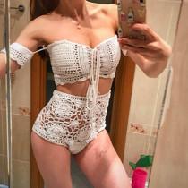 Women Knitting Hand Crocheted Hollow Out Off The Shoulder Bikinis Sets Swimwear