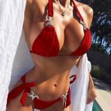 Women Diamonds Triangle Bow Tie Split Bikinis Sets Swimsuit