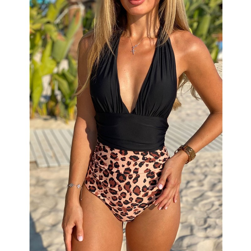 Women Leopard Print Halter High Wasit V-neck Onepiece Swimsuit