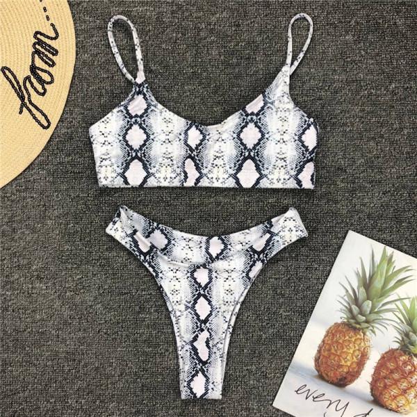 Women Snakeskin Prints Low Waist Bikini Sets Swimsuit