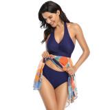 Women V-Neck Halter Skirt Style Mesh Prints Bikinis Swimsuit