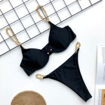 Women V-neck Chain Strap Bikinis Swimwear Sets