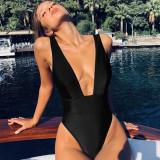 Women Pure Color Deep V-Neck One Piece Swimsuit