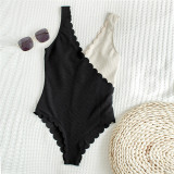 Women Black and White Splicing Petal Edge V-Neck One Piece Swimsuit