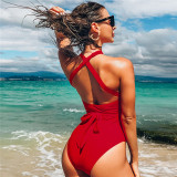 Women Pure Color Cross Over One Piece Swimsuit