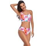 Women Bikinis One Shoulder Tie-dye High Waist Split Bikinis Sets Swimwear