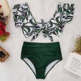 Women Prints Green Leaves Ruffles Sleeves Top High Waist Bikinis Sets Swimwear