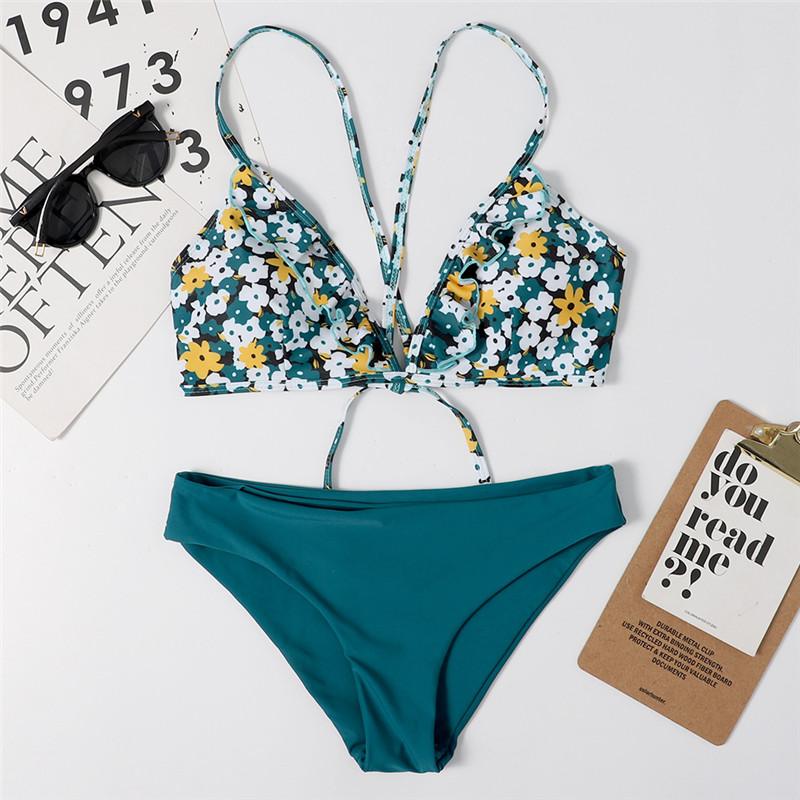 Women Prints Blue Flowers Bikinis Sets Swimwear