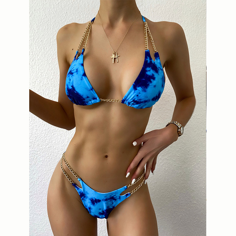 Women Double Chain Triangle Tie-dyed Bikinis Swimwear Sets