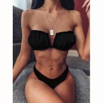 Women Tube Top Bikinis Chest Wrap Strapless Frill Bandeau V-neck Swimwear Bikinis Sets