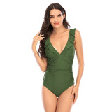Women Deep V-Neck Ruffles Shoulder Lace Up Backless One Piece Swimsuit