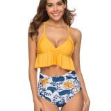 Women Ruffled Top Prints Dots Flowers High Waist Bikinis Sets Swimwear