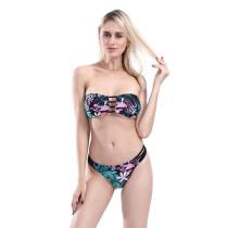 Women Prints Flowers Tube Top Hollow out Bikinis Sets Swimwear