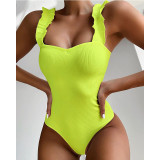 Women Pure Color Ruffles Shoulder Strap One Piece Swimsuit