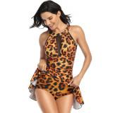 Women Mesh Leopard Print Skirt Onepiece Swimsuit