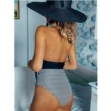 Women Halter V-neck Stripes High Wasit Onepiece Swimsuit