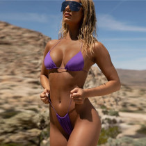 Women Triangle Bikinis Sets Pure Color Swimwear