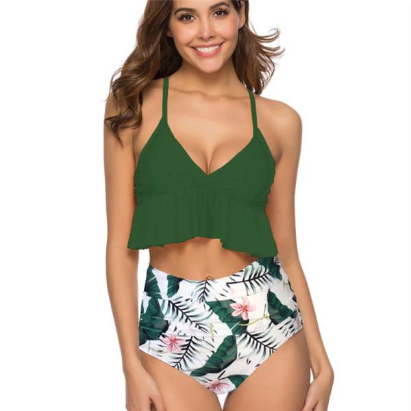 Women Ruffled Top Prints Flowers High Waist Bikinis Sets Swimwear