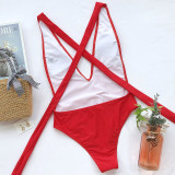 Women Deep V Cross Over Tie Up Backless One Piece Swimsuit