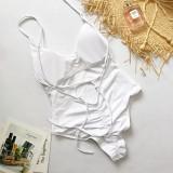 Women V-neck Slip Backless Onepiece Swimwear Swimsuit