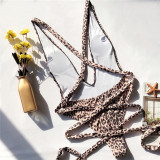 Women Leopard Print Color Matching Cross Over One Piece Swimsuit