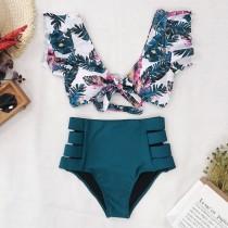 Women Prints Flowers Ruffles Sleeves Top High Waist Bikinis Sets Swimwear