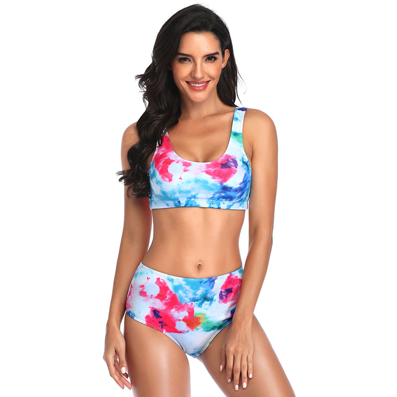 Women Tie dye High Waist Bikinis Sets Swimwear