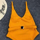 Women Pure Color Belt Metal Buckle One Piece Swimsuit