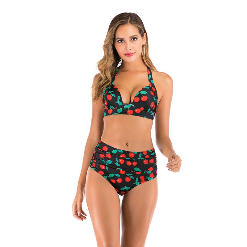 Women Halter Prints Cherries High Waist Bikinis Sets Swimwear