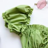 Women Ruffles Short Sleeve Strapless Frill Tie Up Swimwear Bikinis Sets