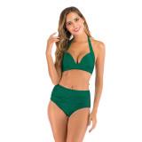 Women Halter Pure Color High Waist Bikinis Sets Swimwear