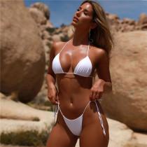 Women Pure Color Tie Up Triangle Bikinis Sets Swimwear