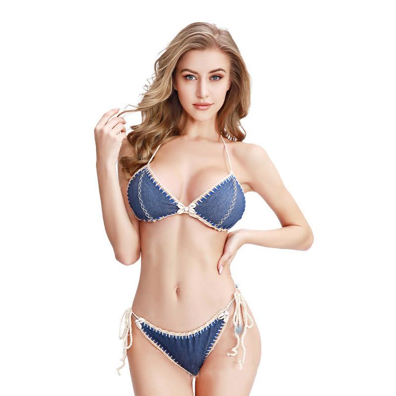 Women Triangle Top Hand Crocheted Tie Up Bikinis Sets Swimwear