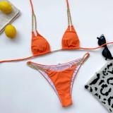 Women Double Chain Strap Triangle Bikinis Swimwear Sets